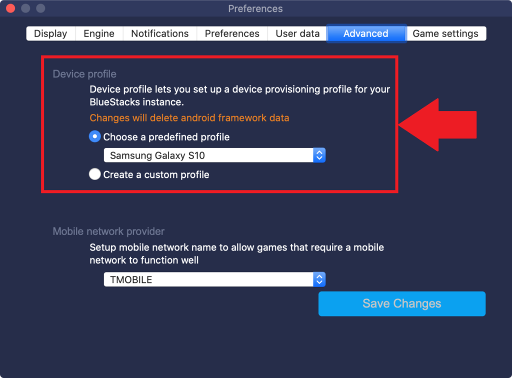 Where to locate a setting to change device profile in BlueStacks 4